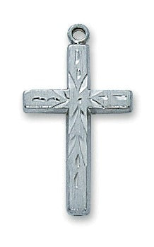 "Sterling Silver Cross on 18"" Rhodium Chain Pendant Necklace"