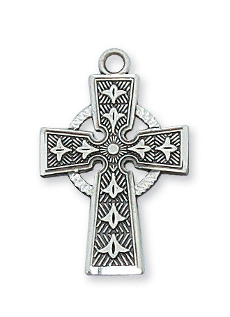 "Sterling Silver Celtic Cross on 18"" Rhodium Chain Pendant Necklace"