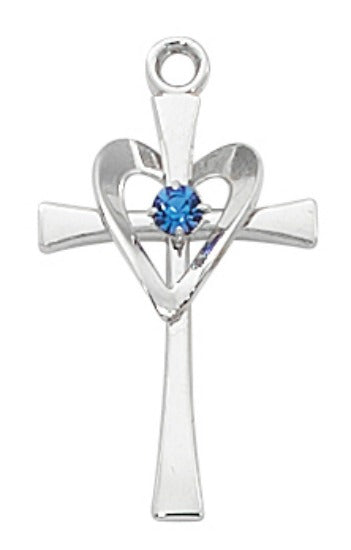 "Sterling Silver Cross with Blue Stone on 18"" Rhodium Chain Pendant Necklace"