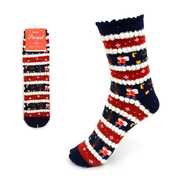 Women's Christmas Holiday Socks 1PR One Size Fits All Santa Tree Snowflakes