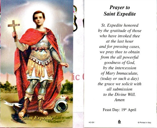 St. Expedite Laminated Prayer or Holy Cards SET OF 12