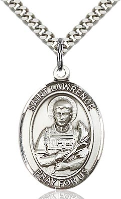 Sterling Silver St. Lawrence Patron Oval Medal Pendant Necklace by Bliss