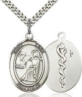 Sterling Silver St. Luke the Apostle Oval Medal Pendant Necklace by Bliss For Doctors Physicians