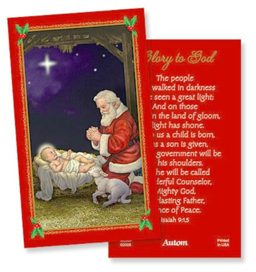 Baby Jesus & Kneeling Santa Prayer Card Pack of 25 Put in Christmas Cards!