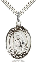 Sterling Silver St. Madeline Sophie Barat Oval Patron Medal Pendant Necklace by Bliss