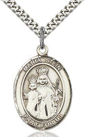 Sterling Silver Maria Stein Oval Patron Medal Pendant Necklace by Bliss