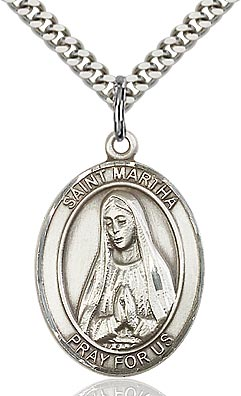 Sterling Silver St. Martha Oval Patron Medal Pendant Necklace by Bliss