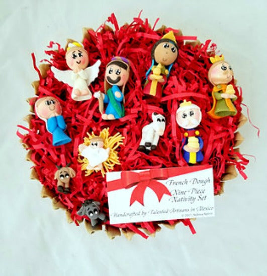 Handcrafted French Dough Nine Piece Nativity Set - Made in Mexico FAIR TRADE ITEM!