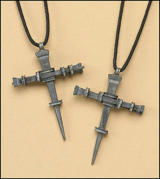 Nail Cross Pendant on Cord Necklace - Lent Easter Autom NS040