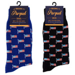 Men's American Flag Blue or Black Novelty Parquet Socks - One Size Fits All