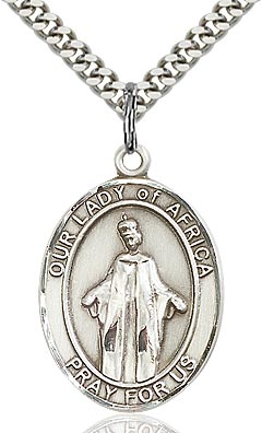 Sterling Silver Our Lady of Africa Oval Patron Medal Pendant Necklace by Bliss