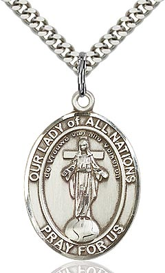 Sterling Silver Our Lady of All Nations Oval Patron Medal Pendant Necklace by Bliss