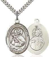 Sterling Silver Our Lady of Mount Carmel Oval Patron Medal Pendant Necklace by Bliss