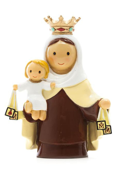 "Mary Our Lady of Mount Carmel 3.5"" Statue - Little Drops of Water Series"