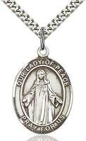 Sterling Silver Our Lady of Peace Oval Patron Medal Pendant Necklace by Bliss