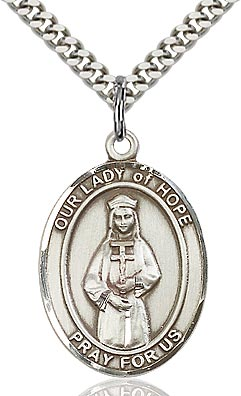 Sterling Silver Our Lady of Hope Oval Patron Medal Pendant Necklace by Bliss