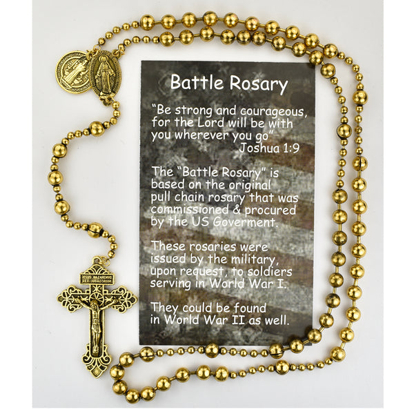 Gold Plated All Metal Benedict Battle Rosary - Replica of World War II Rosaary P250BC