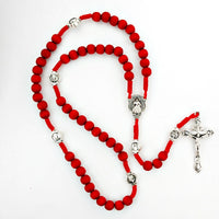 Red Wooden Cord Divine Mercy Rosary Boxed   MADE IN ITALY!