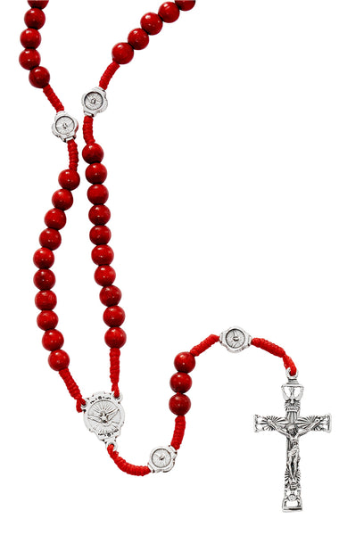 Red Wooden Cord Holy Spirit Rosary Boxed - Confirmation Gift!  MADE IN ITALY!