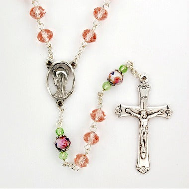 Suncut Flower Pink crystal Rosary with Madonna Centerpiece -  Boxed