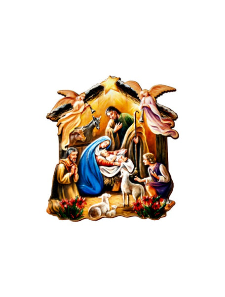 "Nativity with Shepherds 4"" Wood Plaque - Made In Italy - Christmas Fars P511"