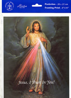 Jesus I Trust In You Divine Mercy Unframed Print 8x10 Printed in Italy by Fratelli Bonella