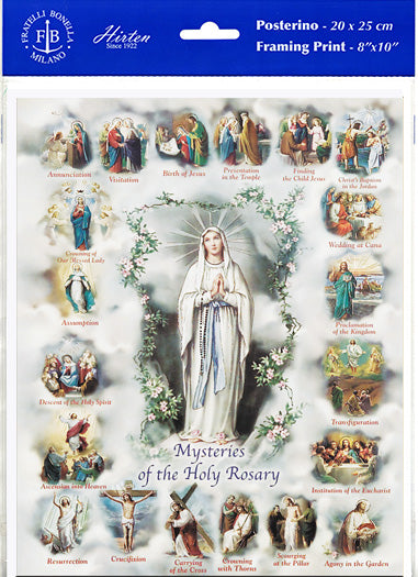 Mysteries of the Rosary Unframed Print 8x10 Printed in Italy by Fratelli Bonella