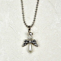 "Crystal Angel Pendant Necklace on 16"" Chain"
