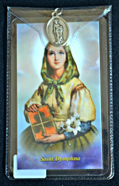 St. Dymphna Prayer Card & Medal in Plastic Holder PF11DY