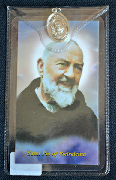 St. Padre Pio Prayer Card and Medal Religious Art PF11-PP