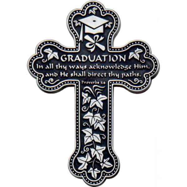 "Graduation Proverbs 3:6 Metal 5.75"" Wall Cross Cathedral Art PMC114"