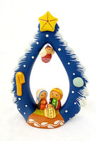 Handcrafted Tree of Life with Nativity Clay Figure from Peru FAIR TRADE Christmas Blue