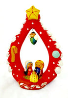 Handcrafted Tree of Life with Nativity Clay Figure from Peru FAIR TRADE Christmas Red