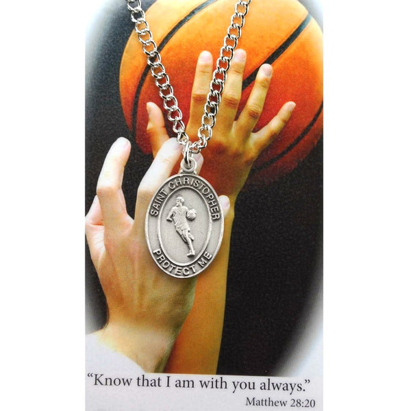 "St. Christopher Sports Medal - Boy's Basketball on a 24"" Chain"