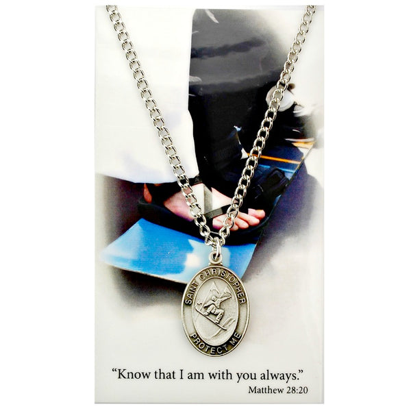 "St. Christopher Sports Medal - Boy's Snowboarding on a 24"" Chain"
