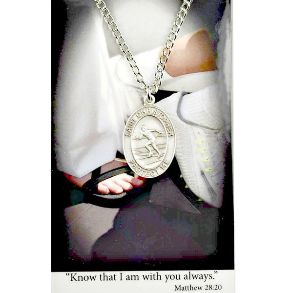 "St. Christopher Sports Medal - Boy's Track on a 24"" Chain"