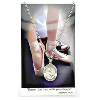 "St. Christopher Sports Medal - Girl's Dancing on an 18"" Chain"