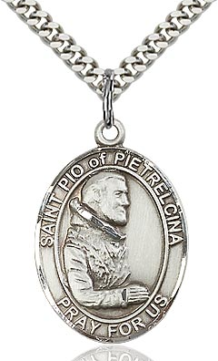 Sterling Silver St. Padre Pio of Pietrelcina Oval Medal Pendant Necklace by Bliss