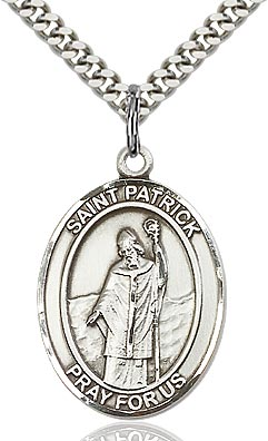 Sterling Silver St. Patrick of Ireland Oval Medal Pendant Necklace by Bliss