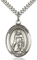 Sterling Silver St. Peregrine Oval Medal Pendant Necklace by Bliss