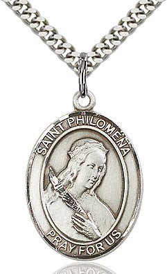 Sterling Silver St. Philomena Oval Patron Medal Pendant Necklace by Bliss