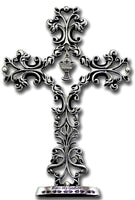 "Godson First Communion 5.5"" Standing Cross with Chalice Charm Cathedral Art QP00004"