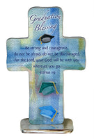 "Graduation Blessing 4"" Metal Standing Cross Cathedral Art QP433"
