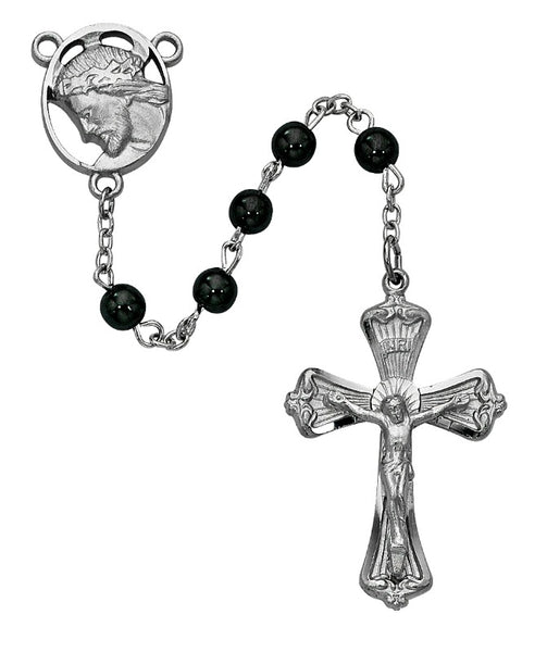 6MM Hermatite Rosary with Jesus with Crown of Thornes Center Boxed
