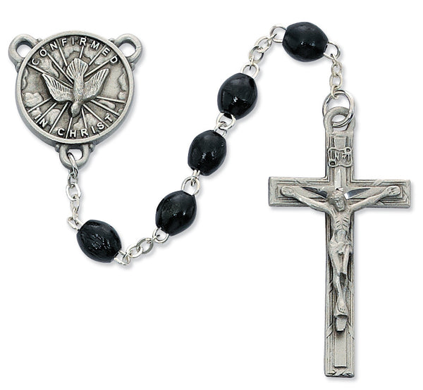 Black Wooden Holy Spirit Confirmation Rosary McVan R447DF