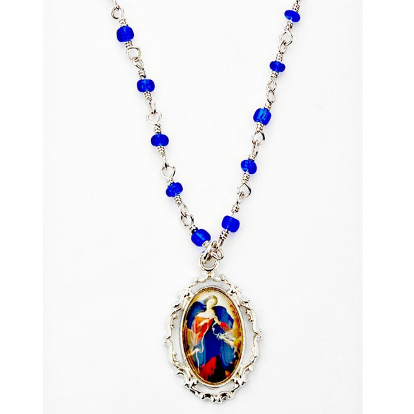 Our Lady Undoer (Untier) of Knots Pendant Necklace on Blue Beaded Chain