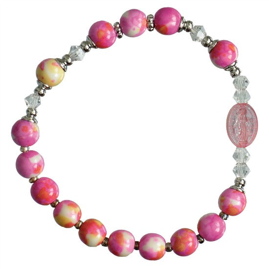 Child's Miraculous Medal Gemstone Stretch Rosary Bracelet Pink Sine Cera RCB41