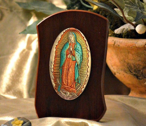 Italian Silver Our Lady of Guadalupe Icon on Wood Stand MADE IN ITALY Avanti