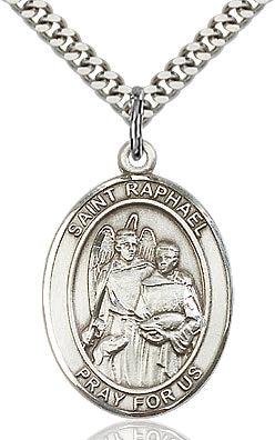 Sterling Silver St. Raphael the Archangel Oval Medal Pendant Necklace by Bliss