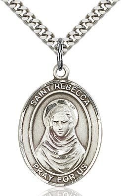 Sterling Silver St. Rebecca Oval Patron Medal Pendant Necklace by Bliss